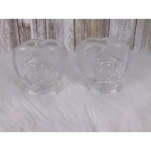 PartyLite set of 2 Rose flower candle holders